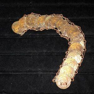VINTAGE Bronze Mexican 5 Cent Piece Bracelet #25
